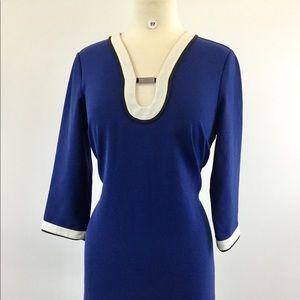 Ann Taylor Multi Blue P/White Dress Size M (B-97)